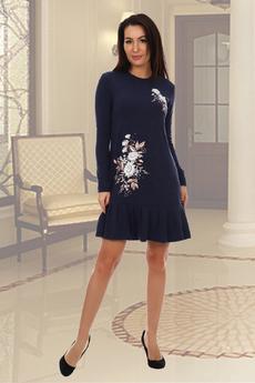 Темно-синее трикотажное платье Натали