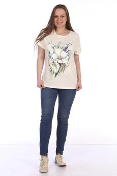 Бежевая футболка с цветами ZAVI