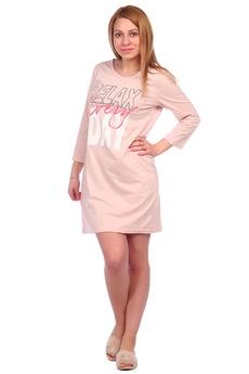 Персиковая сорочка с рукавом ElenaTex